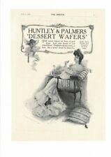 VINTAGE 1905 HUNTLEY & PALMERS DESSERT WAFER ANGEL ELEGANT DAINTY WOMAN AD PRINT