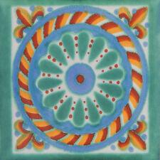 "Handmade Mexican Tile Sample Talavera Clay 4"" x 4"" Tile C174"