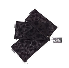Dilly's Collections Mesh Black Zip Purses Travel Organizer Flower Design Set 3