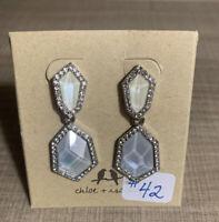 Chloe & Isabel Rhinestone Silver Tone Drop Statement Earrings