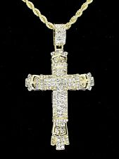 "Mens Large Icy Cross Pendant 14k Gold Plated 24"" Rope Chain Hip Hop Necklace"