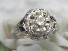 VINTAGE ANTIQUE 14KT WG VS/GH DIAMOND & SAPPHIRE FILIGREE DECO ENGAGEMENT RING