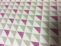 "CLARKE & CLARKE ""PRISM"" 100% COTTON BERRY AND LIME FABRIC 10 METRES"