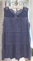 NEW Plus Size 1X XL Denim Blue Lace Shirt Top Peasant Blouse