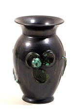 Anthrazith farbene Keramik Vase 20er / 30er Jahre florales Relief Dekor