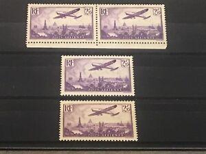 Avion survolant Paris : N•10 2,25f violet 4 exemplaires neufs sans charnière