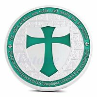 Knights Templar Silver Plated Europe Green Cross Token Souvenir Coin Collections
