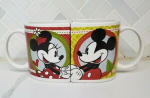 Disney 2011 Mickey and Minnie Mouse Coffee Mugs Holiday Theme Matching Set of 2