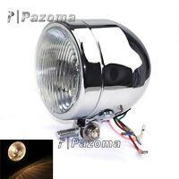 "Single Dominator Chrome 4"" Small Headlight Motorcycle Base Mount Kitcar Headlamp"