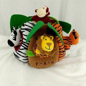 FAO SCHWARZ Plush SAFARI Collection Zoo JUNGLE Play House w/ All 6 Animals