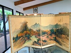 Antique Signed Asian Japanese 4 Panel Screen Painted Landscape on Silk Gold Wash
