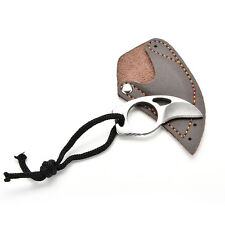"Handmade Combat Tactical Claw Karambit Ring 3"" Knife w/ Faux Leather Sheath LIAU"