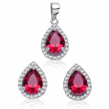 Ruby Red Drop Pear Simulated Diamond Sterling Silver Earring & Pendant Set