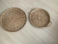 2 Large Wicker Woven Baskets Used Unwanted Display Shabby Chic Crafts Storage