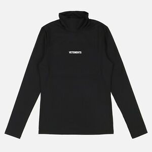 Vetements Black Fitted Logo Turtleneck Long Sleeve   M Fitted (Skinny fit) FW21