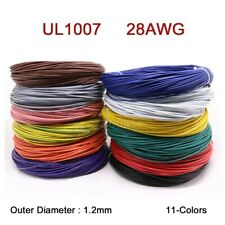 28AWG Flaxible Stranded Electronic Wire UL1007 PVC Cable O.D 1.2mm 11-Colors