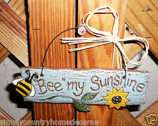 """Bee My Sunshine"" Sign~ Handpainted~Resin~Wire Hanger & Raffia Straw~Free Ship"