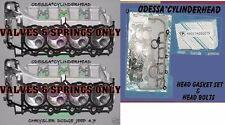 2 CHRYSLER DODGE JEEP DAKOTA 4.7 SOHC CYLINDER HEADS valves&spring BOLTS&GASKETS