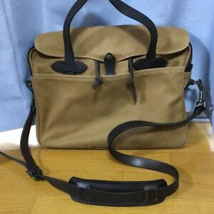FILSON Authentic Original Briefcase 256 Tan Made in USA Used from Japan
