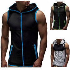 Mens Sleeveless Zip Up Hoodie Sports Gym Fitness Tank Tops Sweatshirt Gilet Vest