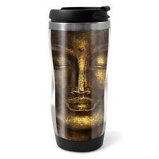 Gold Buddha Head Travel Mug Flask - 330ml Coffee Tea Kids Car Gift #12386