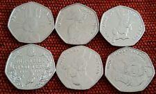 Beatrix Potter 50p Full 6 Set Coin Jemima-Squirrel-Rabitt-150th-Mrs. Tiggy-Tale