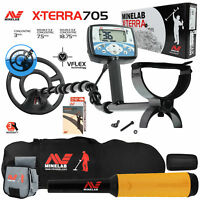 """Minelab X-Terra 705 with 9"""" Search Coil, Pro Find 15, Carry Bag, Finds Pouch"""