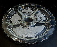 "Clear Etched Glass 12.5"" Diameter Canape' Platter With 5 Separate Compartments"