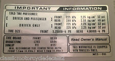 HONDA CB900 CB900F CB900FA CB900FB CB900FZ  TYRE CAUTION WARNING LABEL DECAL