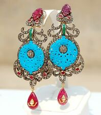 CONNOISSEURS ANTIQUE 22-14K CARVED TURQUOISE DIAMOND EARRINGS