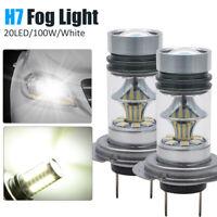 2x CREE H7 100W Car LED Headlight Fog Bulbs Kit 6000k HID Canbus Error Free UK