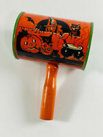 Vintage Halloween tin litho witch American Metal Co. Noise Maker rattle