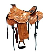 "STUNNING 16"" WESTERN HORSE TACK WADE LIGHT ROPING TRAIL LEATHER RANCH SADDLE"