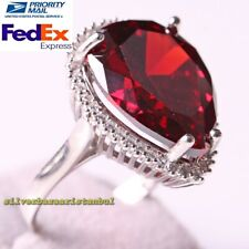 Handmade 925 Sterling Silver Heavy Red Ruby Stone Luxury Ladies Womans Ring
