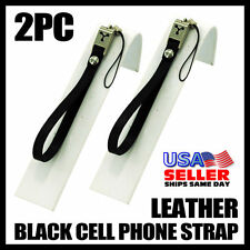 2X Black Leather Mobile Phone Wrist Hand Strap Camera Cell Lanyard Mp3 Ipod New