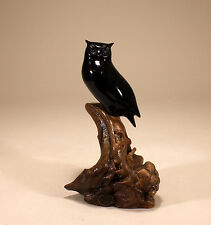 Horned Owl Sculpture New Direct from John Perry Ebonite 9in tall Statue Decor