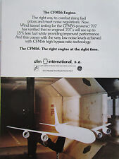 10/1978 PUB CFM SNECMA GENERAL ELECTRIC CFM56 ENGINE WIND TUNNEL BOEING 707 AD