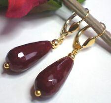 Edelstein Ohrringe Red Stone facettierte Tropfen Rubin Rot 925 Silber vergoldet