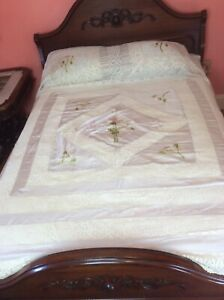 Antique  Italian Wedding Cream Off White Silk Lace Embroidered BEDSPREAD Sham #2