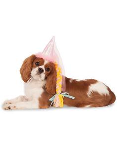 Princess Rapunzel Pet Dog Cat Royal Costume Hat With Blonde Braid