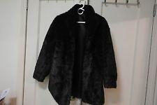 Woman Faux Fur Black Jacket Coat  M/L