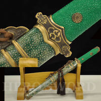 Green Geniune Ray Skin Tang Dynasty Dao Clay Tempered Folded Steel Chinese Sword