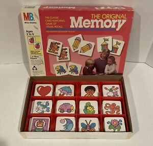 Vintage 1986 The Original Memory Matching Game Complete - Red Tray #4664