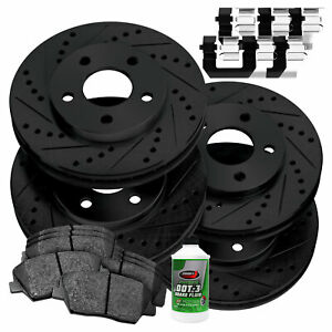 Stirling 2015 For Audi A3 Front Cross Drilled Slotted and Anti Rust Coated Disc Brake Rotors and Ceramic Brake Pads