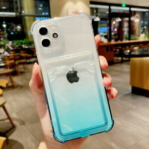 For iPhone 11 12 Pro Max XR XS 7 8 Clear Soft Case Cover Card Holder Shockproof