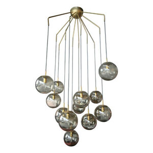 12 Ball Smoked Glass Murano Chandelier