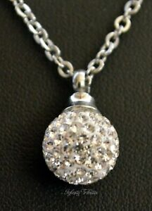 CZ Ball Cremation Urn Necklace Keepsake Pendant Charm for Ashes Cubic Zirconia