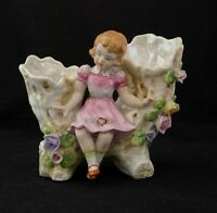 Vintage Napco Planter Girl w/ Flowers & Wood Bench S457b Lusterware Inside Japan