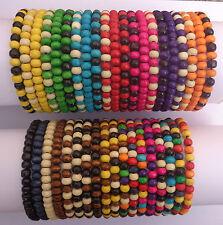 Mens Job Lot X 40 Wooden Tribal / Surfer Elastic Bead Bracelets - NEW