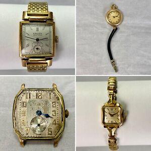 Vintage Wristwatch Repair Lot 4 Pieces Gruen Elgin Bulova Hafis 10k GF RGP